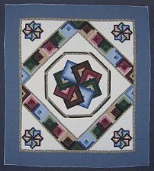 Custom Amish Quilts - Blue Patchwork Log Cabin Spinning Star