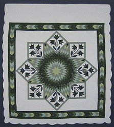Custom Amish Quilts - Love Earth Lily Lone Star Border