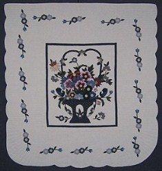 Custom Amish Quilts - Fancy Flower Basket Applique