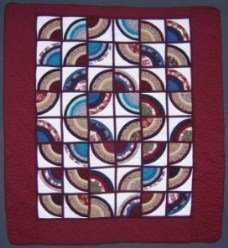 Custom Amish Quilts - Framed Fan Window Patchwork Red