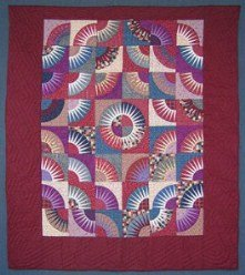 Custom Amish Quilts - Kaleidoscope Burgundy Star