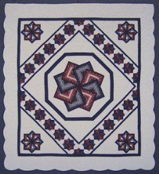 Custom Amish Quilts - Framed Spin Star Burgundy