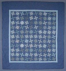 Custom Amish Quilts - Blue Framed Galaxy Spin Stars