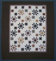 Custom Amish Quilts - Brown Stars Everywhere Patchwork