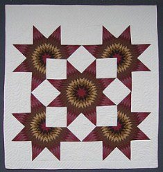 Custom Amish Quilts - Rose Burgundy Brown Gold Star in Stars