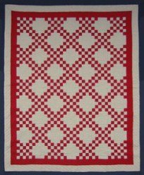 Custom Amish Quilts - Red Tan Irish Chain Patchwork
