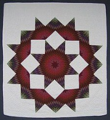 Custom Amish Quilts - Burgundy Brown Green Broken Lone Star