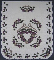 Custom Amish Quilts - Clusters Grapes Wreath Applique Plum