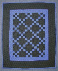 Custom Amish Quilts - Dutch Blue Irish Chain Small Quilt Wall Hanging