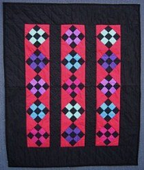 Custom Amish Quilts - Dutch Red Nine Patch Small Quilt Wall Hanging