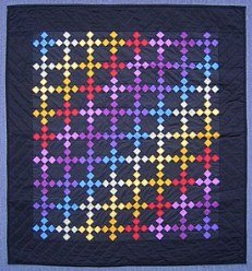 Custom Amish Quilts - Amish Dutch Rainbow Nine Patch Small Quilt Wall Hanging