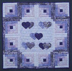 Custom Amish Quilts - Purple Love the Log Cabin Small Quilt Wall Hanging