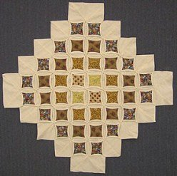 Custom Amish Quilts - Cathedral Window Gold Brown Small Quilt Wall Hanging
