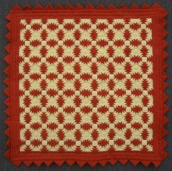 Custom Amish Quilts - Brick Red Tan Pineapple Small Quilt Wall Hanging Certified