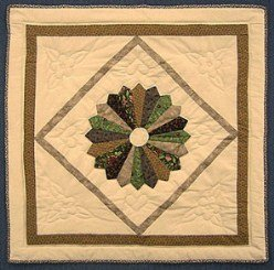 Custom Amish Quilts - Brown Tan Dresden Plate Small Quilt Wall Hanging