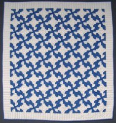Custom Amish Quilts - Ocean Waves Patchwork Blue White