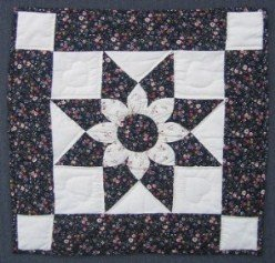Custom Amish Quilts - Dahlia Star Blue Small Quilt Wall Hanging