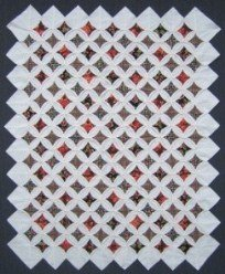 Custom Amish Quilts - Cathedral Window Red Green Small Quilt Wall Hanging