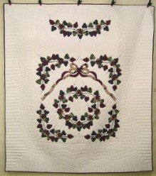 Custom Amish Quilts - Grape Cluster Applique Burgundy Green