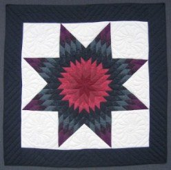 Custom Amish Quilts - Purple Navy Dutch Small Quilt Wall Hanging