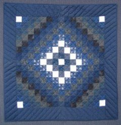 Custom Amish Quilts - Blue Trip Around World Small Quilt Wall Hanging