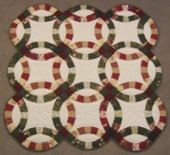 Custom Amish Quilts - Double Wedding Ring Green Burgundy Small Quilt Wall Hanging