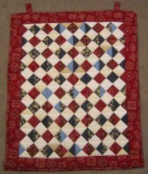 Custom Amish Quilts - Farmers Daughter Red Small Quilt Wall Hanging Certified