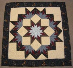 Custom Amish Quilts - Broken Blue Black Lone Star Small Quilt Wall Hanging