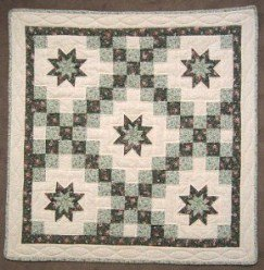 Custom Amish Quilts - Irish Chain Star Green Small Quilt Wall Hanging