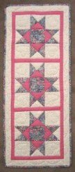 Custom Amish Quilts - Pink Flower Star Small Quilt Wall Hanging