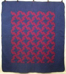 Custom Amish Quilts - Drunkards Path Patchwork Burgundy Navy