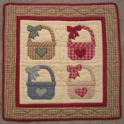 Custom Amish Quilts - Basket Love Applique Certified Small Quilt Wall Hanging
