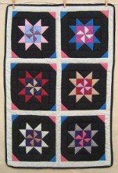 Custom Amish Quilts - Dutch Pinwheel Star Certified Small Quilt Wall Hanging
