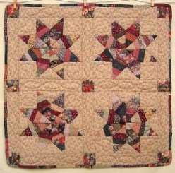 Custom Amish Quilts - Scrap Stripe Star Certified Small Quilt Wall Hanging