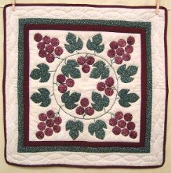 Custom Amish Quilts - Grape Wreath Applique Certified Small Quilt Wall Hanging