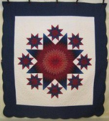 Custom Amish Quilts - Star Stars Patchwork Burgundy Navy