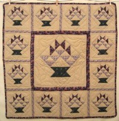 Custom Amish Quilts - Baskets Berries Patchwork Small Quilt Wall Hanging Certified