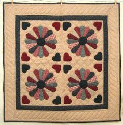 Custom Amish Quilts - Dresden Plate Applique Certified Small Quilt Wall Hanging