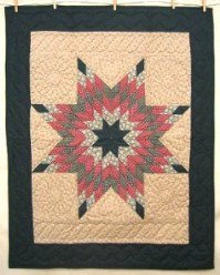 Custom Amish Quilts - Rose Green Lone Star Certified Small Quilt Wall Hanging