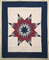 Custom Amish Quilts - Blue Red Lonestar Certified Small Quilt Wall Hanging