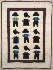 Custom Amish Quilts - Amish Clothes Applique Certified Small Quilt Wall Hanging