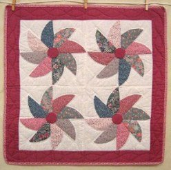 Custom Amish Quilts - Pinwheel Patchwork Certified Small Quilt Wall Hanging