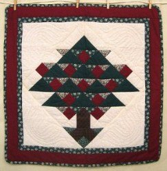Custom Amish Quilts - Christmas Tree Red Green Certified Small Quilt Wall Hanging
