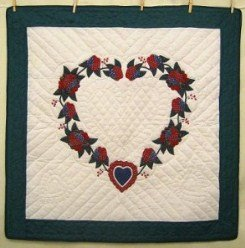 Custom Amish Quilts - Heart Roses Navy Burgundy Applique Small Quilt Wall Hanging