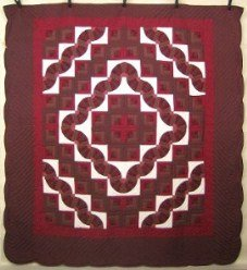 Custom Amish Quilts - Fan Log Cabin Surrounding Courtyard Patchwork Burgundy