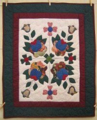Custom Amish Quilts - Country Rose Applique Small Quilt Wall Hanging