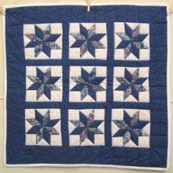 Custom Amish Quilts - Blue White Star Small Quilt Wall Hanging