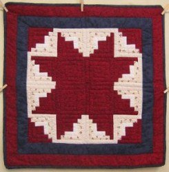 Custom Amish Quilts - Log Cabin Red Blue Star Small Quilt Wall Hanging