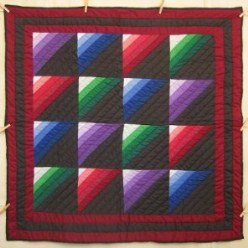 Custom Amish Quilts - Amish Rainbow Dutch Colors Small Quilt Wall Hanging