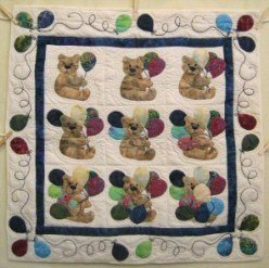 Custom Amish Quilts - Counting Teddy Bears Applique Small Quilt Wall Hanging